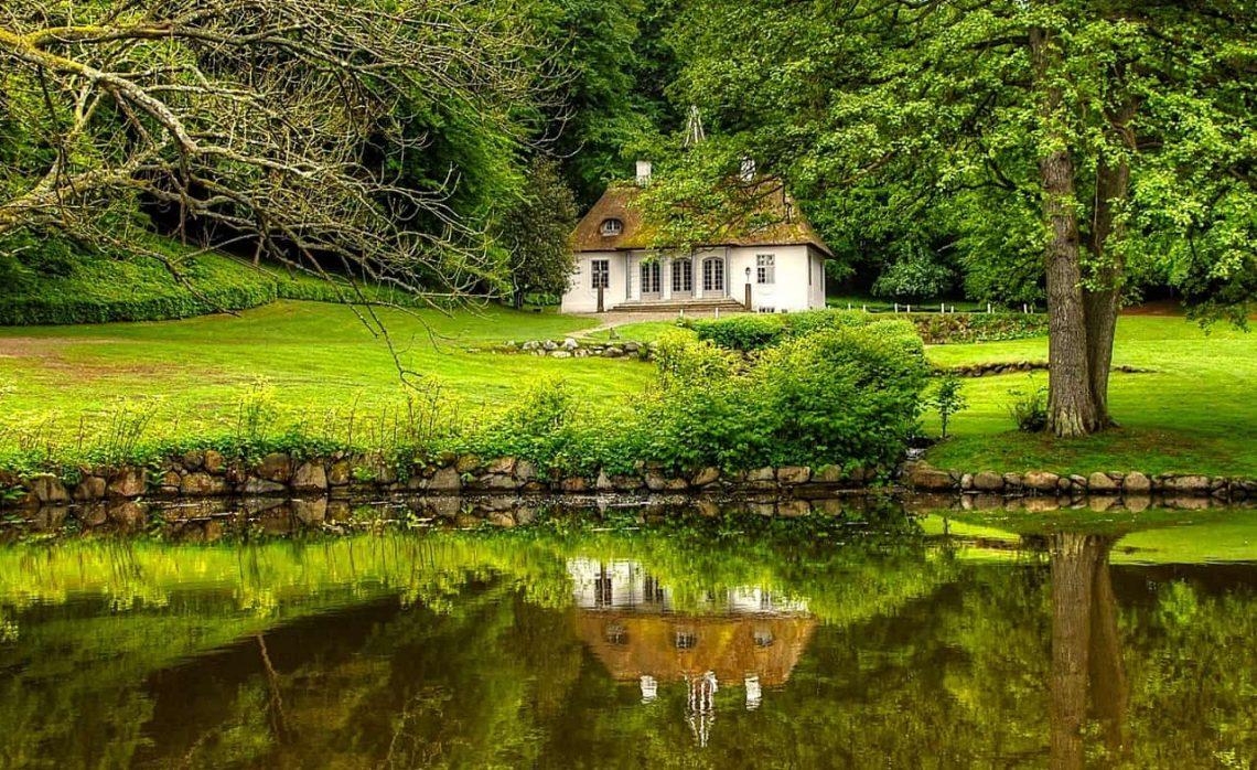 Old village church by pond